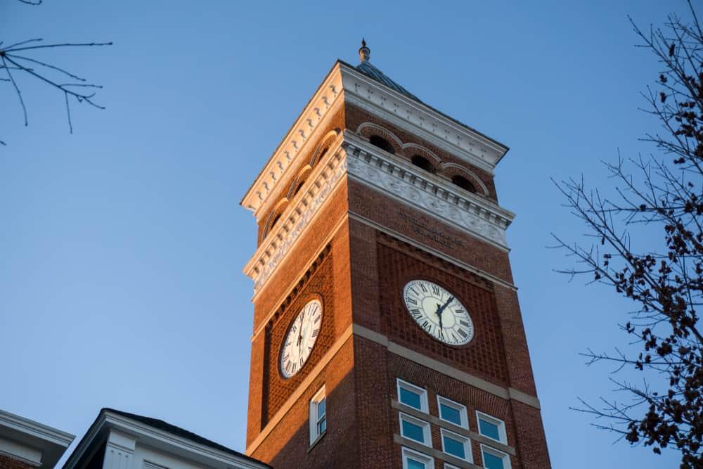Tillman Hall clock tower at Clemson University.