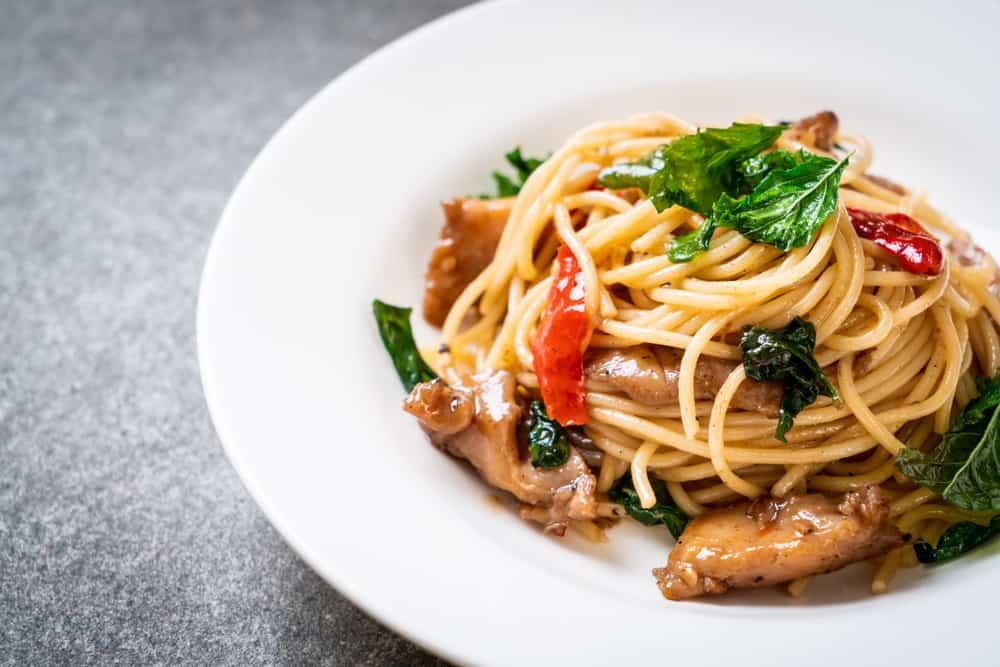 Chicken pasta plate